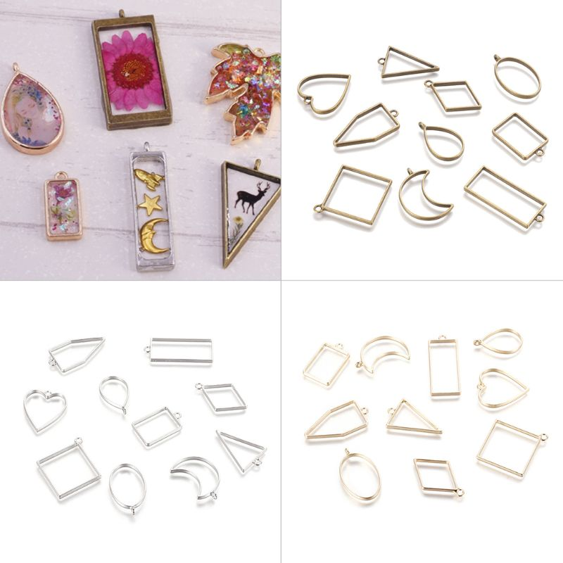 30Pcs/set Geometric Square Diamond Shape Metal Frame Set DIY Epoxy Resin UV Crystal Silicone Molds Jewelry Pendant Making