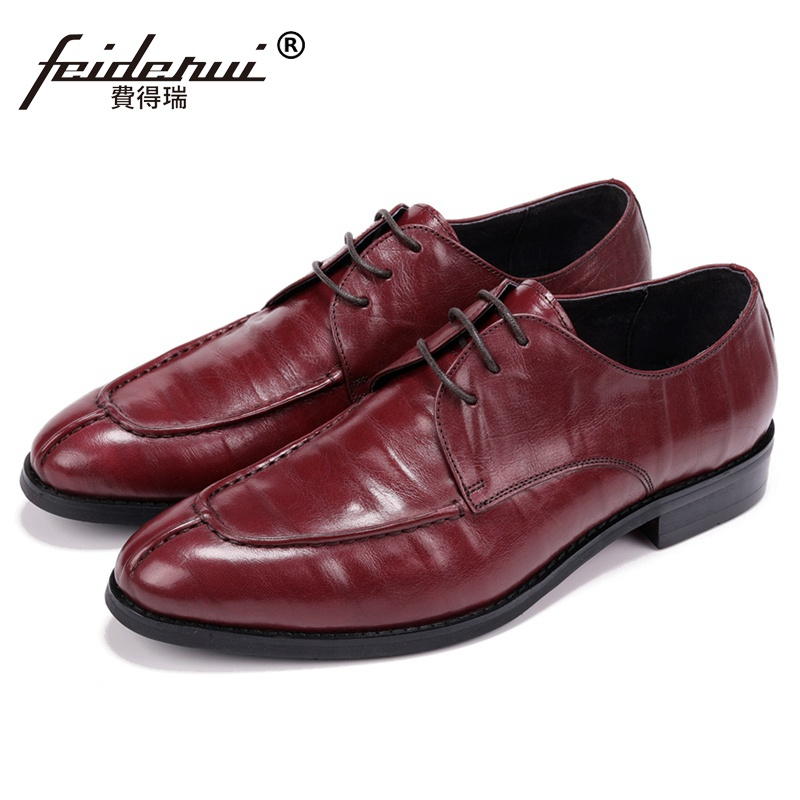 New Stylish Designer Man Handmade Derby Wedding Shoes Genuine Leather Round Toe Lace up Men's Formal Dress Party Footwear JS266 2016 new fashion designer brand cowhide formal flats genuine leather dress derby style lace up round toe shoes for men mgs707 page 1