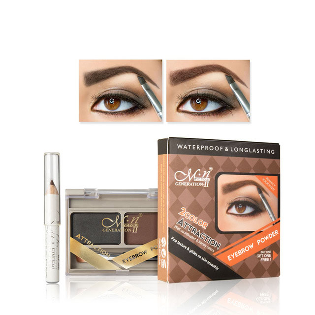 Two Color Eyebrow Powder With Eyebrow Brush Eyebrow Pencil Dyeing Eyebrow Cream Waterproof Natural Three Dimensional