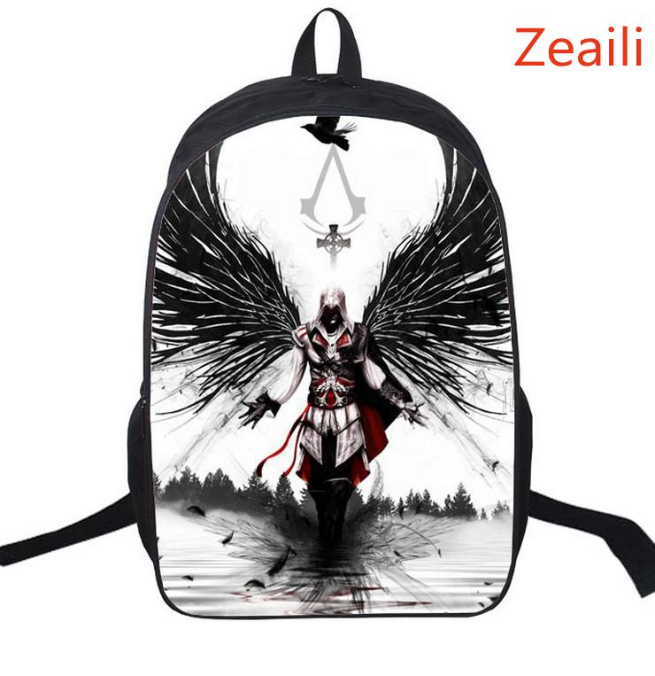 16 Inch Assassin's Creed Nylon Kids Backpack For Teenagers Children School Bags Boys Double Assassins Creed Backpacks Daily Bag assassins creed cosplay backpack men school bags official assassins creed syndicate logo school backpacks bag rucksack