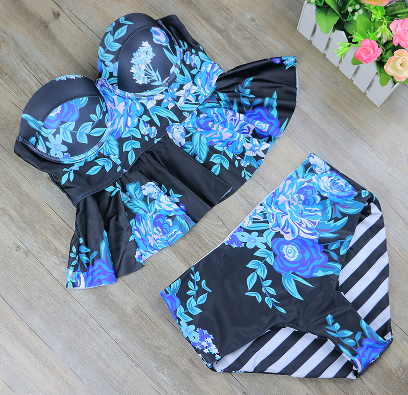 2017 New Print Bikinis Women Swimsuit High Waist Bathing Suit Plus Size Swimwear Push Up Bikini Set Vintage Retro Beach Wear XL 2017 women plus size swimwear bathing suit push up bikini set brazilian women high waist swimwear plus size swimsuit xxxl