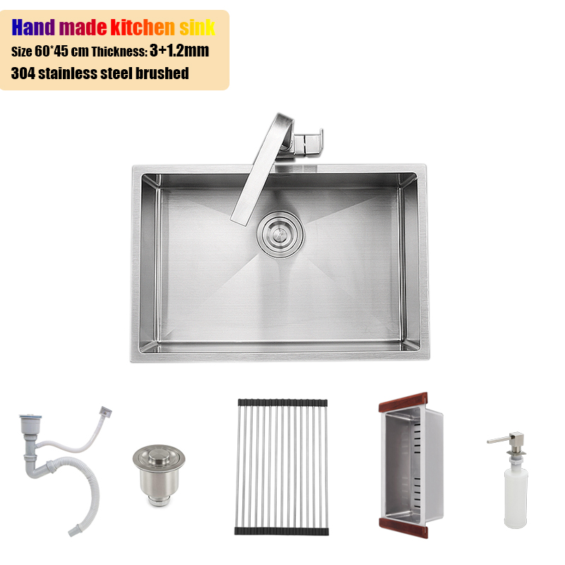 60 45cm stainless steel kitchen sink undermount single bowl 23 6 thickening water tank brushed with