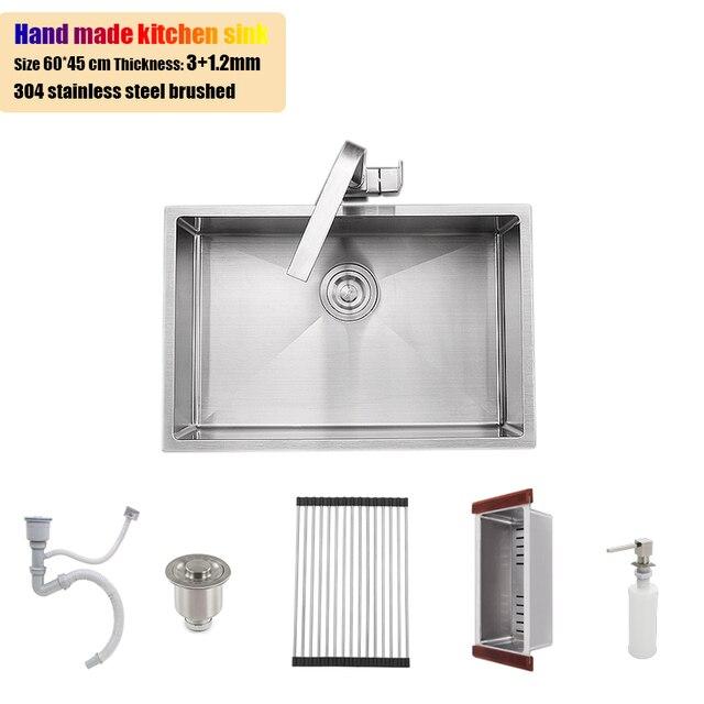 60 45 Cm Stainless Steel Kitchen Sink Undermount Mangkuk Tunggal 23 6 Tangki Air Penebalan