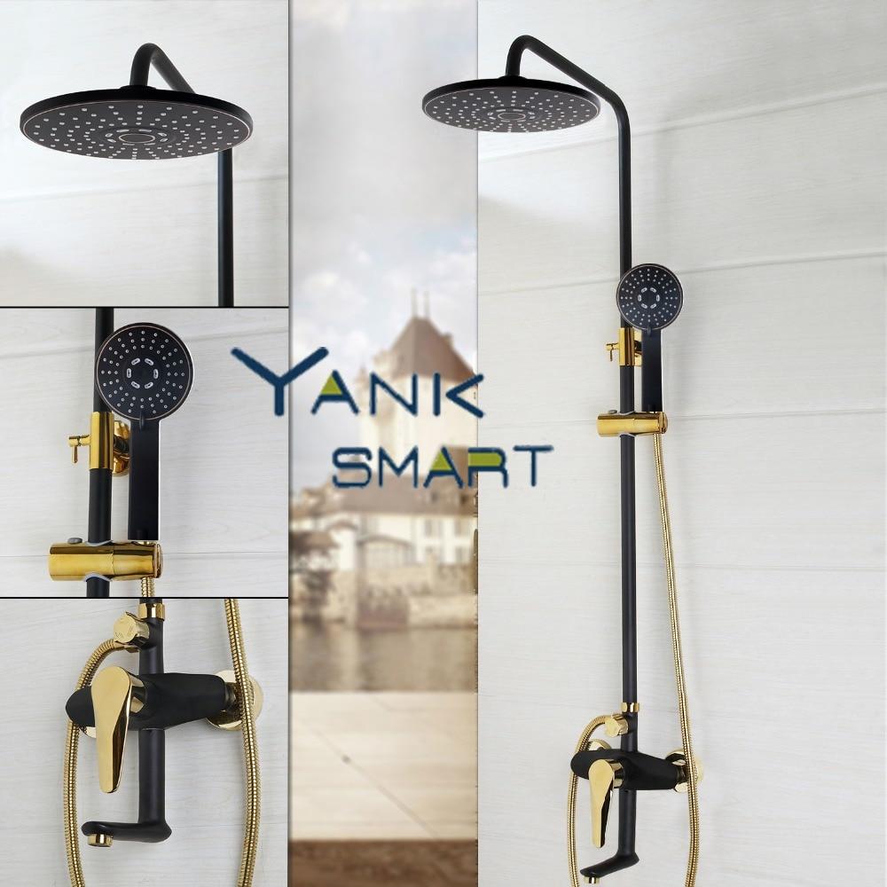 цены на Black Gold-plated Wall Mounted Bath Shower Set Faucet Rotation Tub Spout + Handheld Shower Spray + Rainfall Head + Single Handle в интернет-магазинах