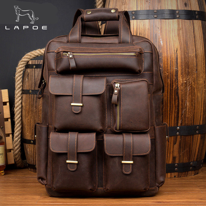 Lapoe Brand Design Men Genuine Leather Backpack Crazy Horse Vintage Daypack Multi Pocket Casual Rucksack Vintage Handmade Tote