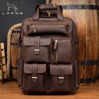LAPOE Brand Design Men Genuine Leather Backpack Crazy Horse Vintage Daypack Multi Pocket Casual Rucksack Vintage Handmade Tote