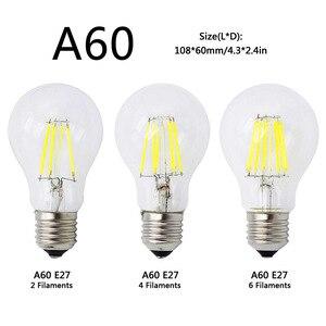 Image 3 - A60 G45 винтажная приглушаемая Светодиодная лампа накаливания E27 COB лампы 2/4/6/8 нити 220 в 230 В лампа 10 Вт 15 Вт 20 Вт 25 Вт