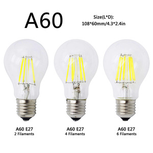 Image 3 - A60 G45 Vintage Dimmable LED Filament Light Bulb E27 COB Bulbs 2/4/6/8 Filaments 220V 230V Lampada 10W 15W 20W 25W