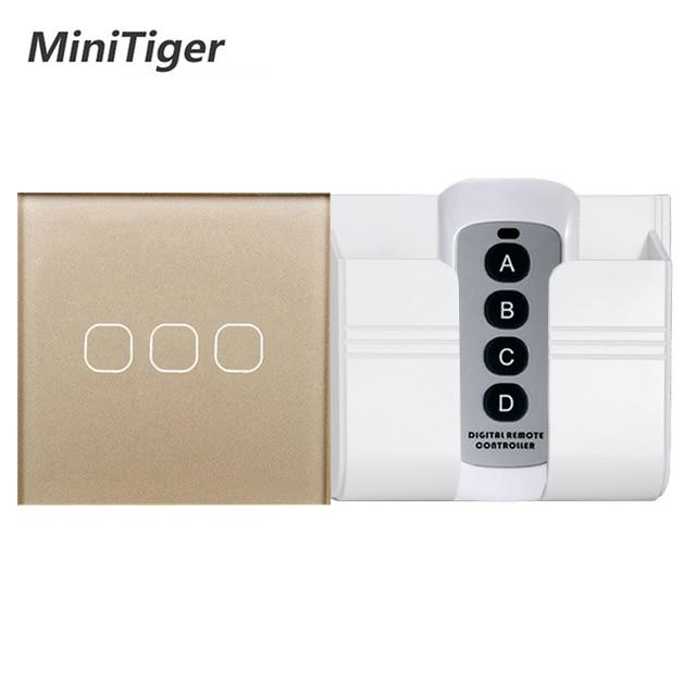 MiniTiger EU/UK estándar 1/2/3 Gang Interruptor táctil de luz de Control remoto inalámbrico, smart Home RF433 interruptor de pared de Control remoto