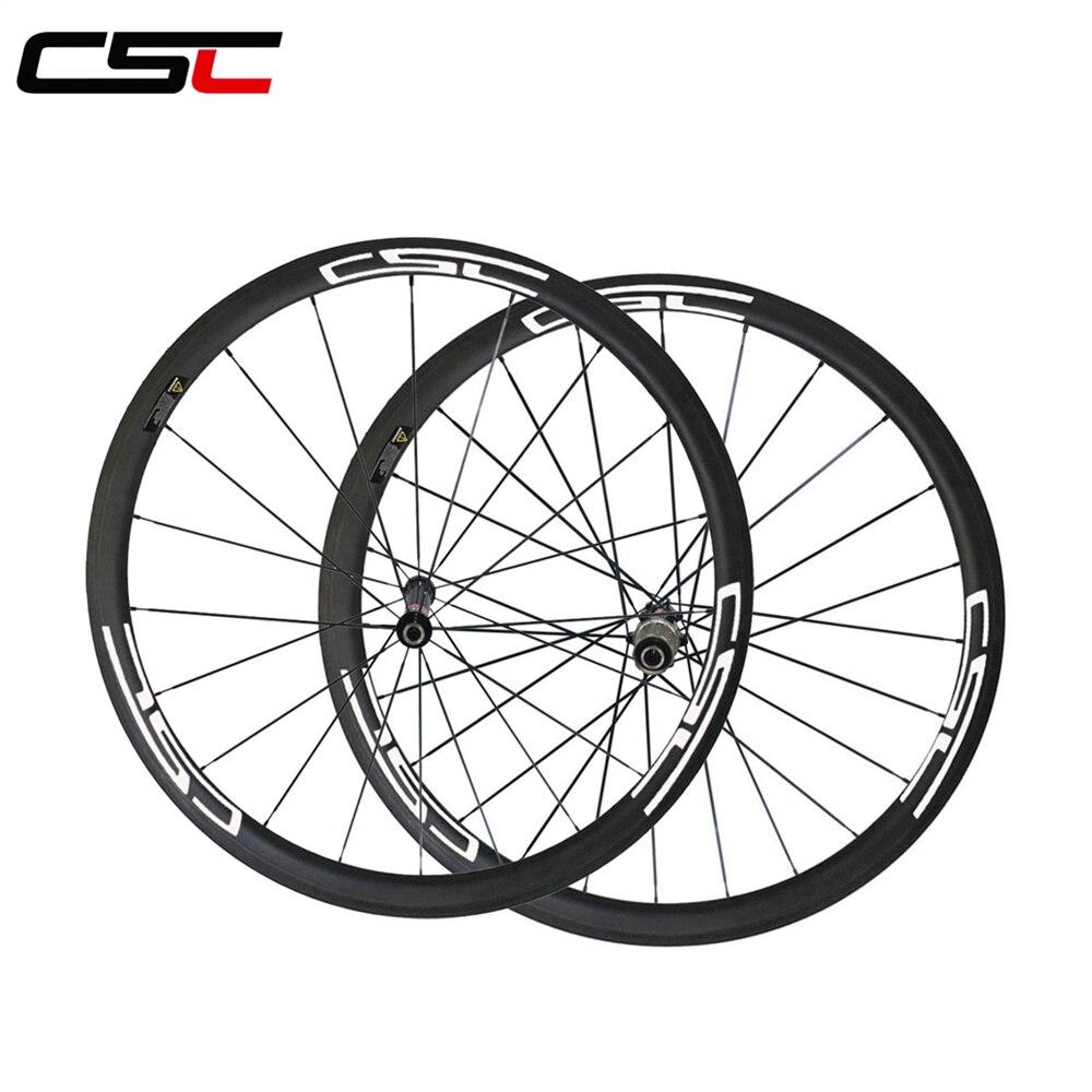 CSC 1426g 23mm Width 38mm Clincher Carbon Bike wheels Novatec AS511SB FS522SB hub CN 424 OR