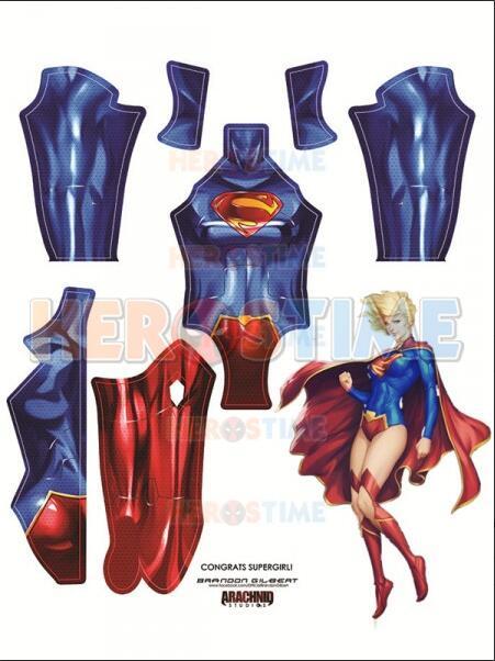 New 52 Supergirl Costume Printing Spandex Female Superhero Cosplay Costume Custom Available