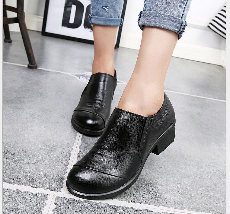 ФОТО New Genuine Leather Shoes Women High Heels Fashion Womens Pumps Office Ladies Shoes Black  comfortable soft single shoes