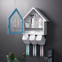 New House Shape Toothpaste Holder Toothbrush Convenient Bathroom Storage Box Accessoies