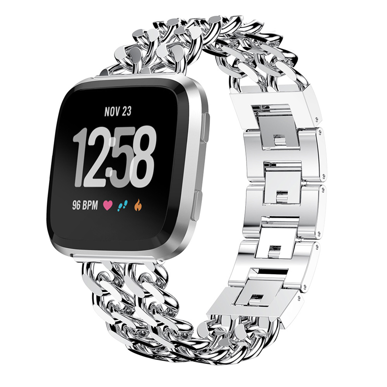 Practical For Fitbit Versa Bracelet Double Row Chain Alloy Strap Wrist Band Smart Accessories Replacement
