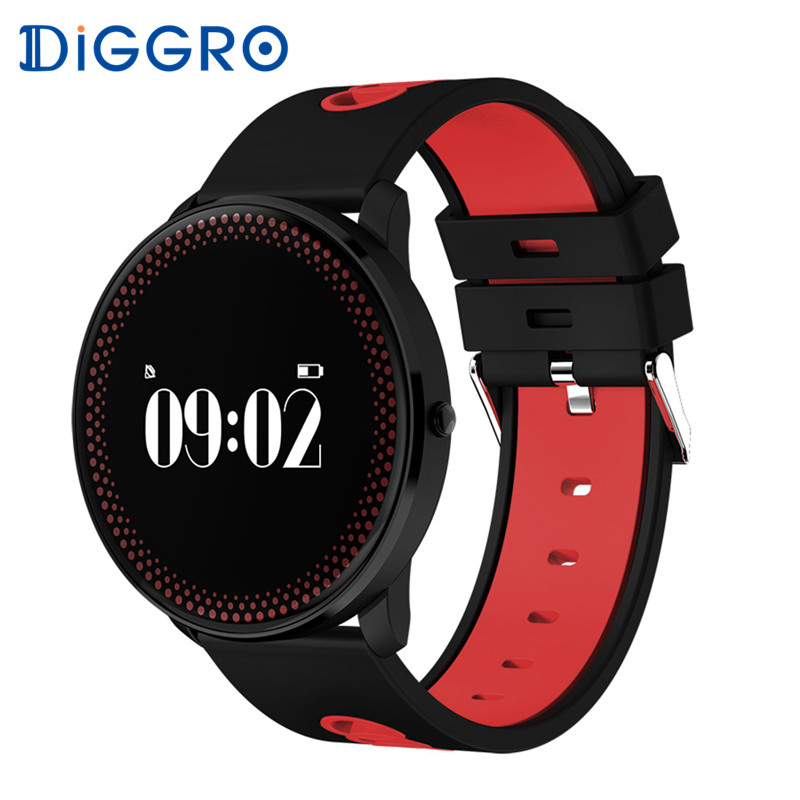 DIGGRO CF007 Smart Bracelet Heart Rate Blood Pressure Oxygen Monitor Weather Forecast Reminder Fitness Wristband PK DM58