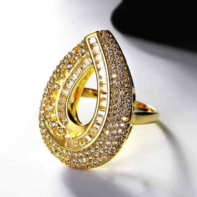Water Drop Design Hot Pick 2018 Wedding White Gold Color Women Big