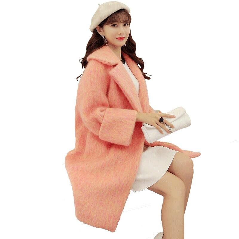 Winter Woolen Coat Women 2018 Thicken Cocoon Pink Wool Coat Elegant Long Parka Overcoat Manteau Femme Hiver Wool Jacket C3751