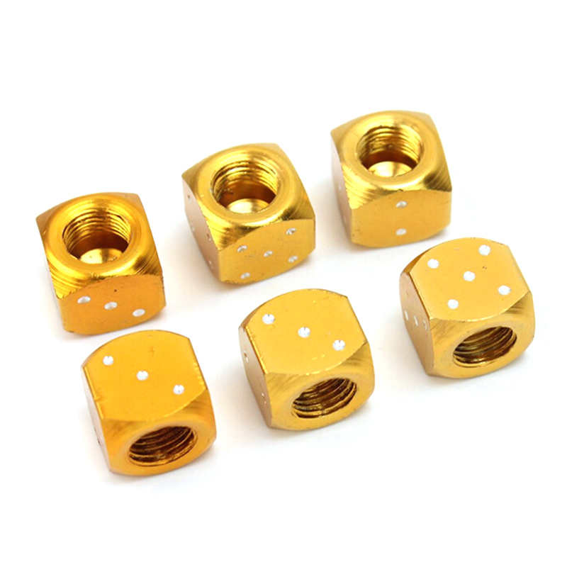 1 Pair GOLD ALLOY DICE Valve Caps Dust Covers for Bmx//Mountain Bike X 2
