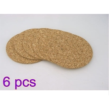 6pcs Mat Placemats Wine Tablemats Plain Round Cork Coasters Coffee Drink Tea Cup Wooden Thickened for Counter Tops Desks