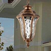 Ip44 Vintage Bronze Aluminum E27 LED Bulb Waterproof Outdoor Pendant Light Fixture European Retro Garden Glass Lamp
