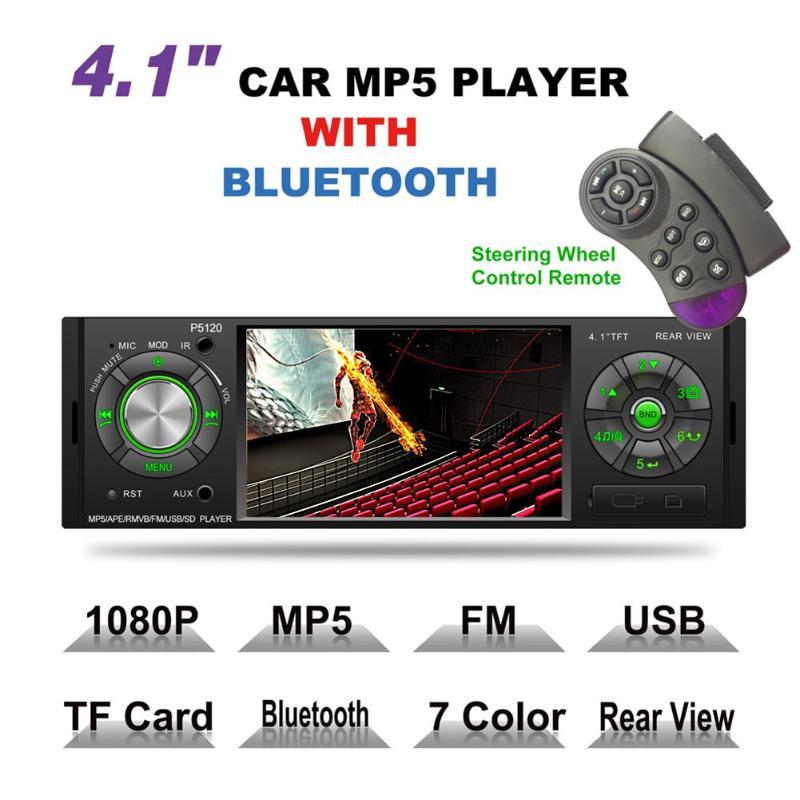 4.1 1Din Bluetooth Mains Libres Kit De Voiture Aux Stéréo Audio Auto Voiture MP5 Lecteur Télécommande FM Radio Autoradio avec caméra de recul