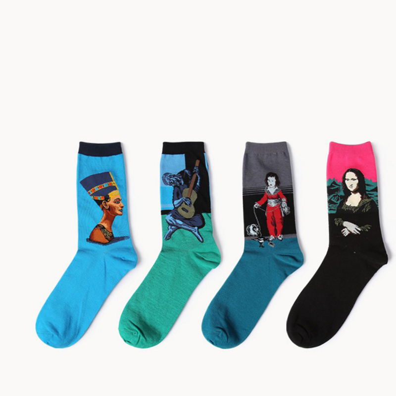 Mens Casual Combed Cotton Socks Oil Painting Crew Socks Colorful Funny happyWinter Happy Socks crew 2018 HOT SELLING