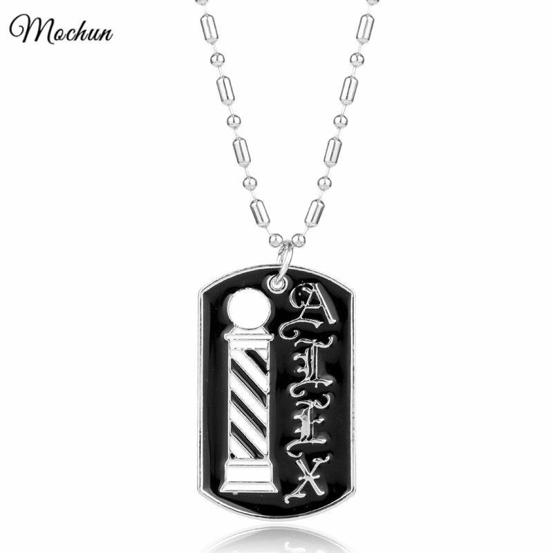 Wholesale Barber Pole Pattern Dog Tag Pendant Necklaces Barber Shop Hair Dresser Gifts Fashion Jewelry Accessories Colar
