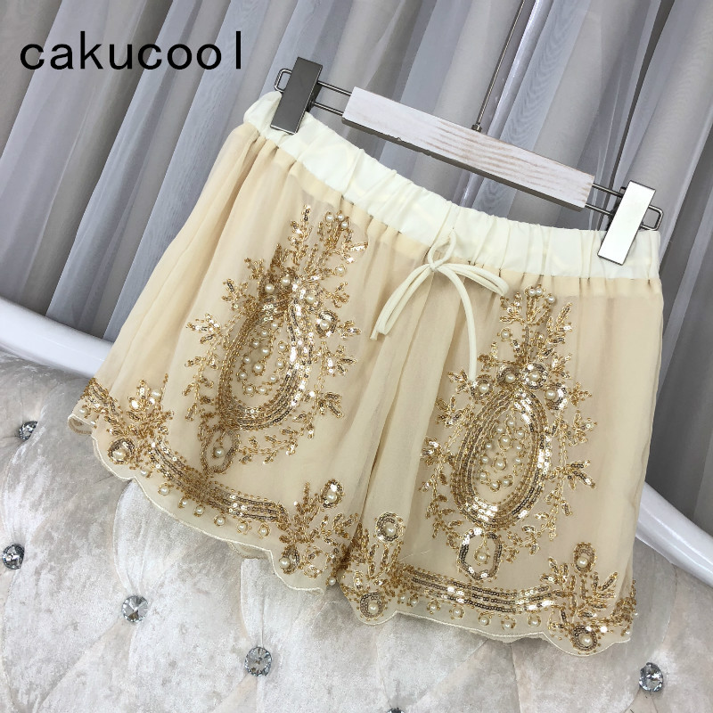 Cakucool Women Summer Chiffon Shorts Floral Beading Wide Leg Shorts Sequined Bling Vocation Shorts Capris Female