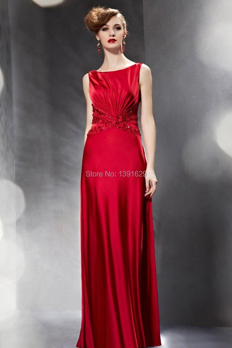 Atlantis Red Satin Long Evening Dress Lace Covered Back Vestido ...