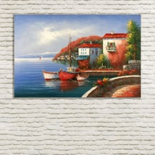 Mediterranean Landscape Oil Painting For Living Room Wall Decorative Picture Hand Painted Canva Art free shipping