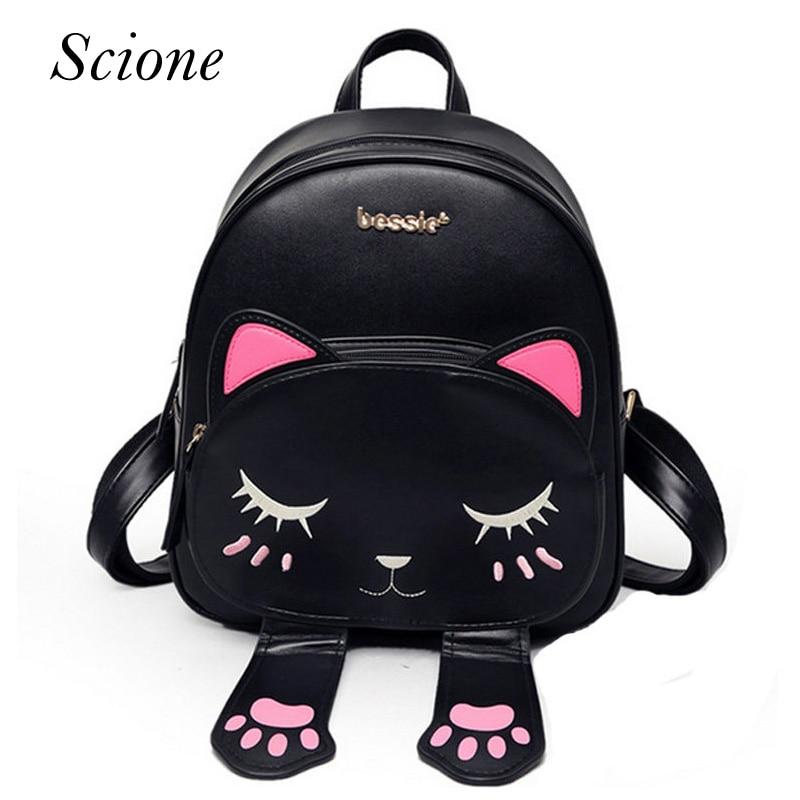 Hot Brand Lovely Cat Leather Backpacks Women Shoulder Bags School Teenage Girls Travel Laptop Bagpack Mochila Funny Preppy Li742