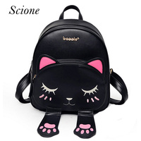 Hot Brand Lovely Cat Leather Backpacks Women Shoulder Bags School Teenage Girls Travel Laptop Bagpack Mochila