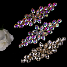 AINNY 1 pcs 16.5*6cm Flower Flatback Silver Golden Colorful Rhinestones Applique Sew On Wedding Dresses DIY Crafts