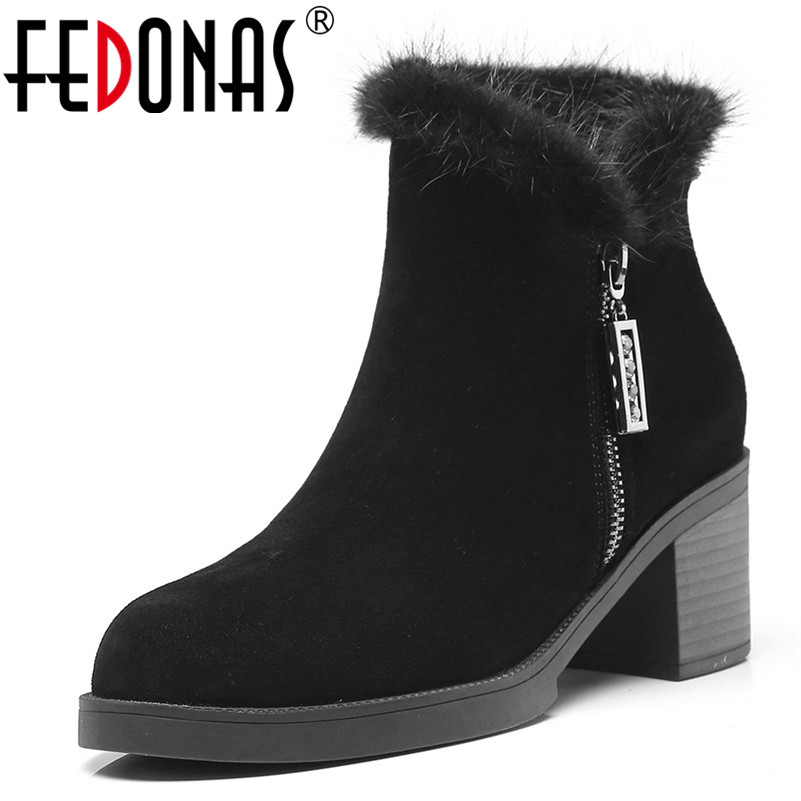 FEDONAS High Quality Women High Heels Ankle Boots Cow Suede Autumn Winter Martin Shoes Woman Round Toe Office Pumps Short Boots enmayla autumn winter chelsea ankle boots for women faux suede square toe high heels shoes woman chunky heels boots khaki black