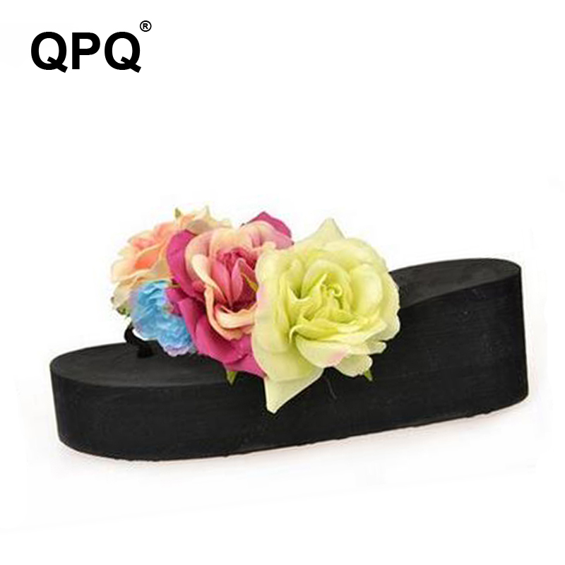 цена на Women Flat Slippers 2017 Summer Flower Sandals Platform Flip Flops Shoes Wedges Slides thick-soled Bottom chinelo Sandalias XC45