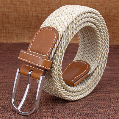 Men Women Casual Knitted Pin Buckle   Belt   Woven Canvas Elastic Stretch   Belts   Webbing 2019 Fashion Men's Elastic Knitting Women's