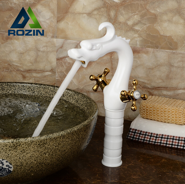 White Brass Countertop Tall Basin Faucet Deck Mount Bathroom Dragon Shape Mixer Tap Dual Cross Handle One Hole noise meter usb digital sound level meter led noise tester meter gm1356 30 130db a c fast slow db software with carry box