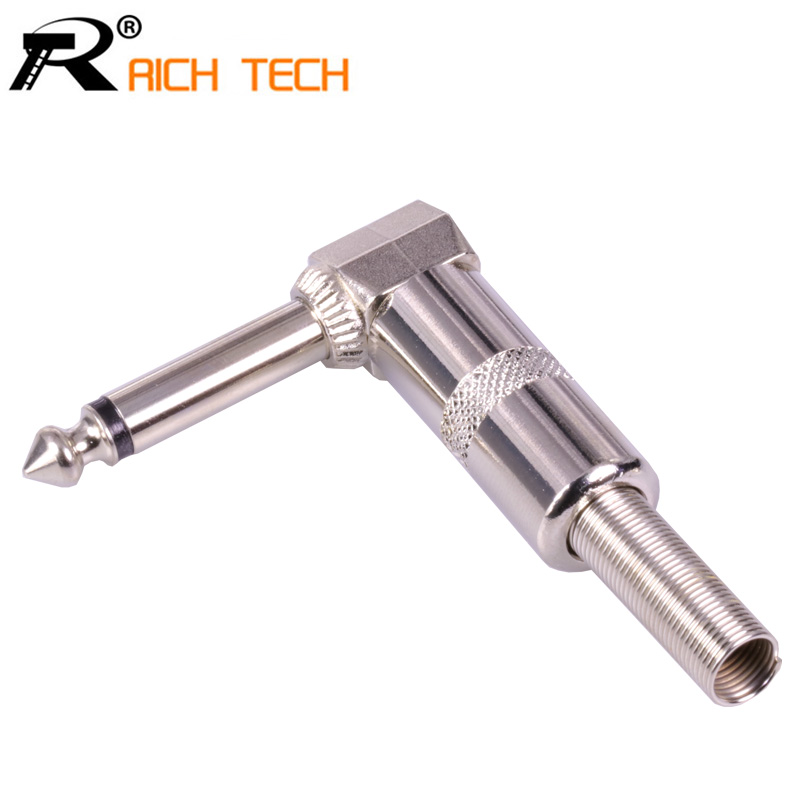 1PC Right Angle 6.35mm Jack Microphone Plug Speaker Assembly 6.3mm Mono Nickle Plated Audio Plug Spring Wire Connector