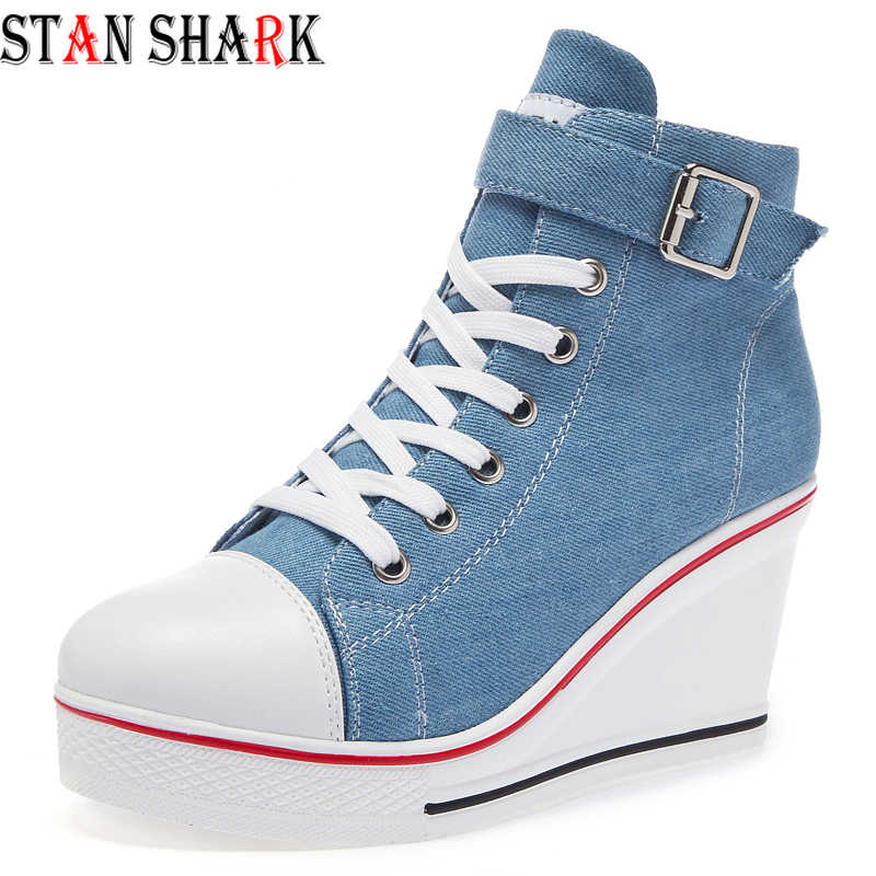 Women Wedge High Top Canvas Shoes