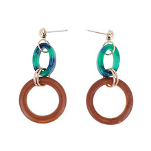 Simple all-purpose black green oval ring wood earrings Fashionable women retro geometric refined exaggerated banquet
