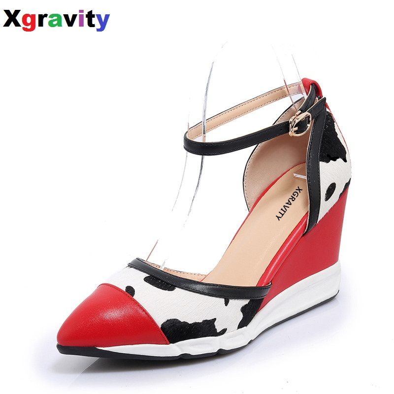 Drop Shipping Girl Genuine Leather Lady Fashion High Heel Closed Toe Dress Shoes Mix Color Women's Sandals Sexy Wedge Shoes B274