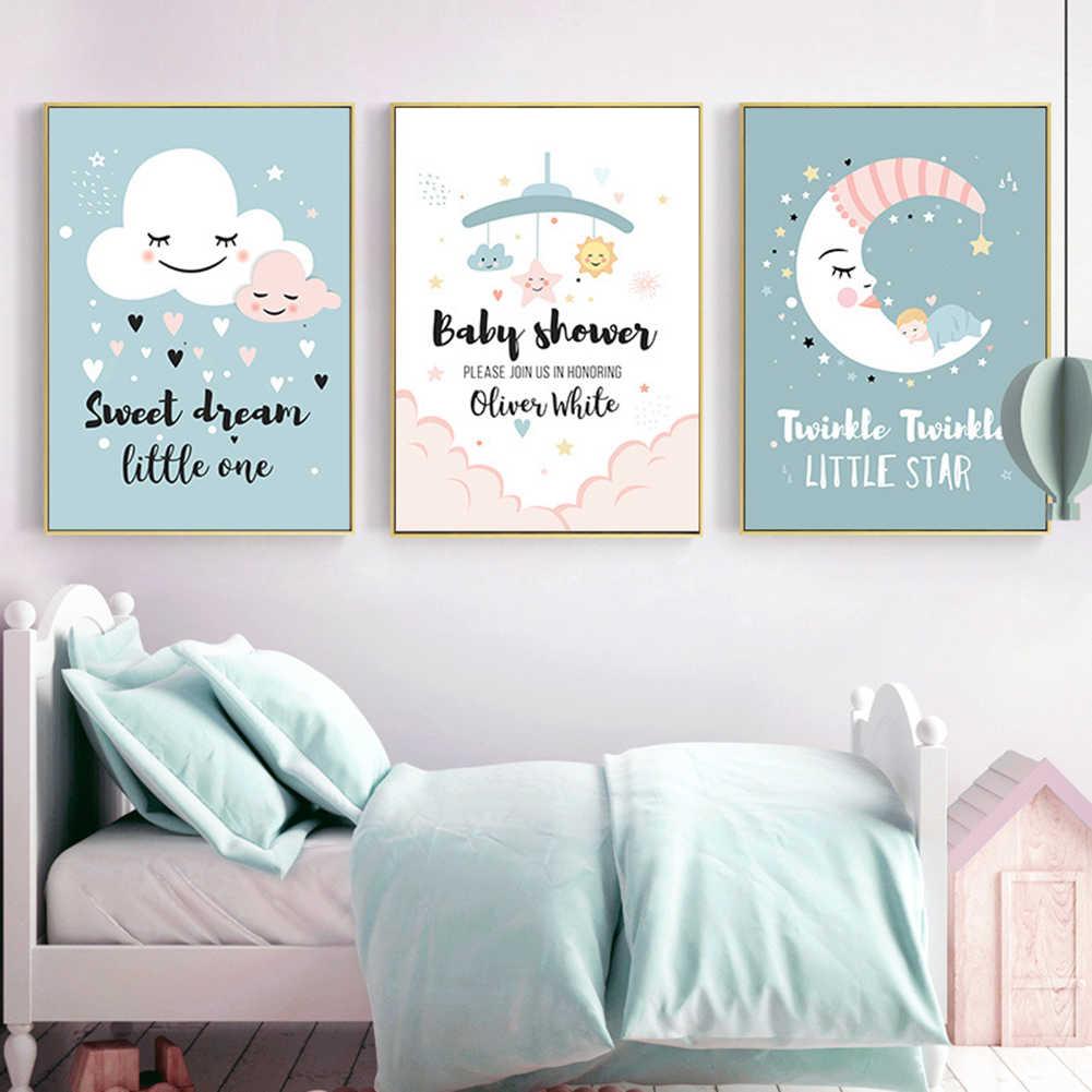 Kanvas Lukisan Awan Bulan Bintang Jantung Dream Gambar Poster Dinding Dekorasi Kamar Anak Panas