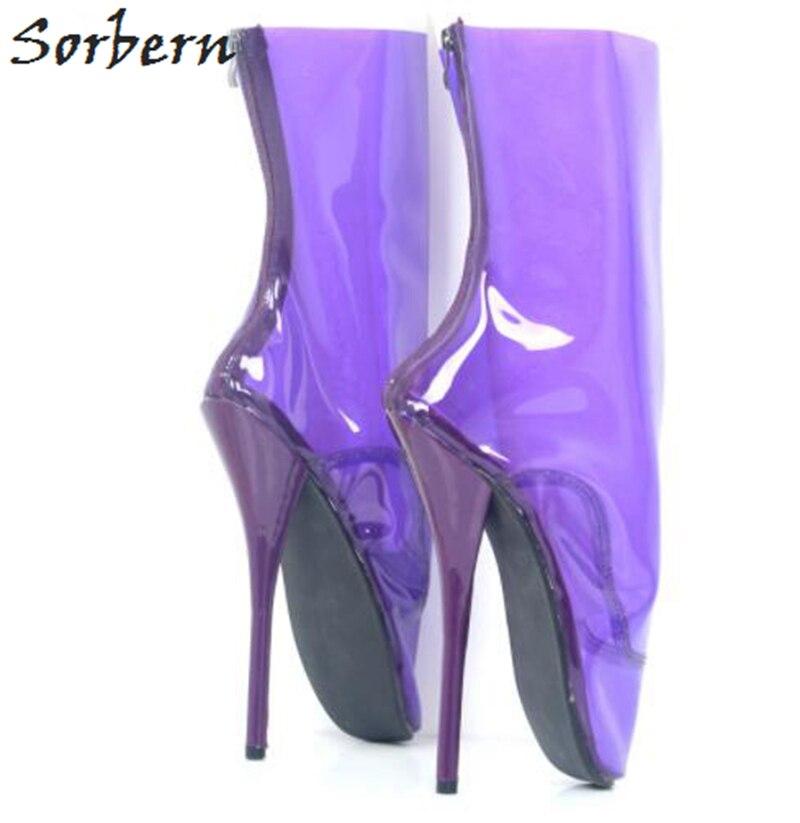 Ballet Claro Botas Claro Fetiche Damas Púrpura Tamaño Talón Cm De púrpura Para Sorbern Pierna Pvc Mujeres rosy Zapatos Señora Red 18 Sexy 8XqU584wx