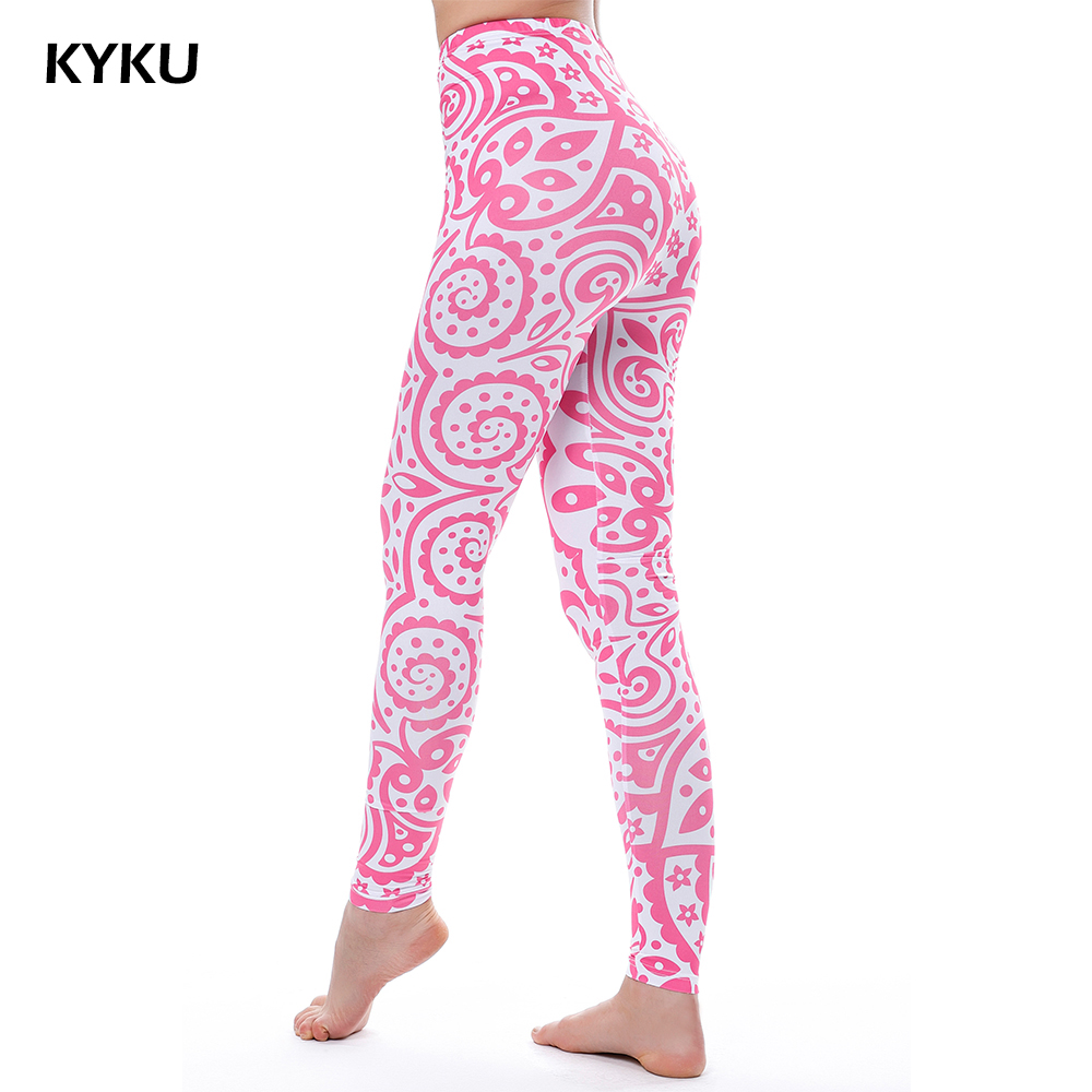 KYKU Pink   Leggings   Mandala Flowers Lycra Sexy   Legging   Summer Women   Legging   High Waist 3d Print Slim Women   Leggings   Lycra Fitness