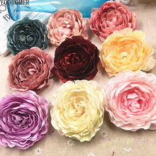 YOOROMER 5pcs/lot 8.5cm High Quality Peony Flower Head Silk Artificial Wedding Decoration DIY Garland Craft
