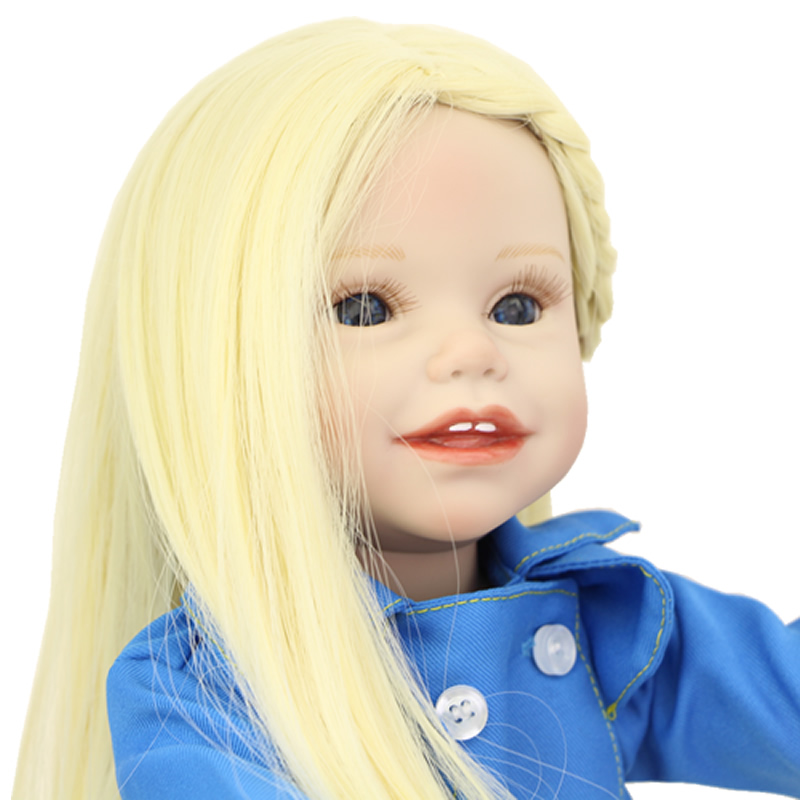 Lifelike Blue Eyes 18 Inch Girl American Doll Full Vinyl Princess Dolls With Blue Nursing Clothing Set Children Birthday Gift lifelike blue eyes 18 inch girl american doll full vinyl princess dolls with blue nursing clothing set children birthday gift