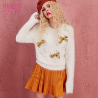 ELF SACK Autumn Bow Mohair Sweater Womens O Neck Long Sleeve Loose Beading Pullovers Women Kawaii All-mach Girls Short Sweaters