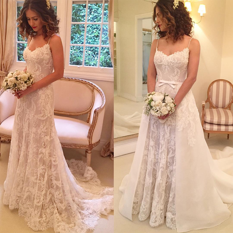 Lace Wedding Gowns With Straps: Elegant Lace Wedding Gowns Sexy Spaghetti Straps Bridal