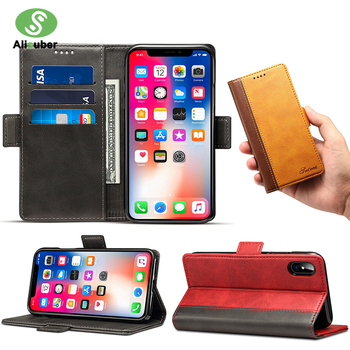Aliusber Retro Flip Phone Case For iPhone XS Max XR Stand Card Cover Luxury Business PU Leather Wallet  For iPhone XS 8 7 Plus