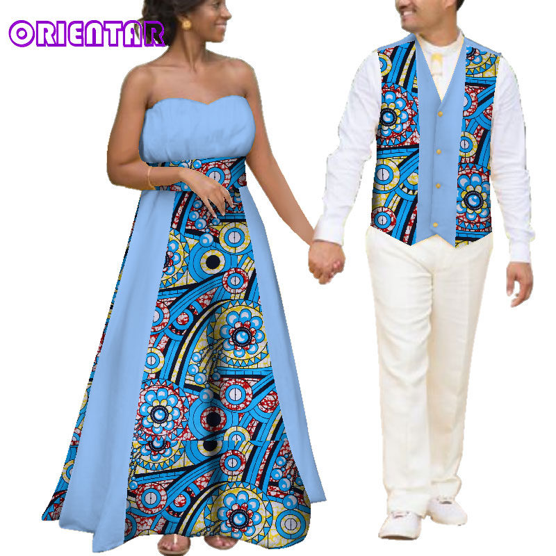African Clothes for Couples Women Backless Ball Gown Long Dress Men Africa Print Vests Waistcoats Wedding Party Dresses WYQ136 gown